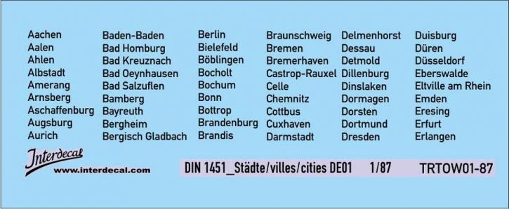 Traffic signs cities 01 DE_1/87  (90x37 mm)