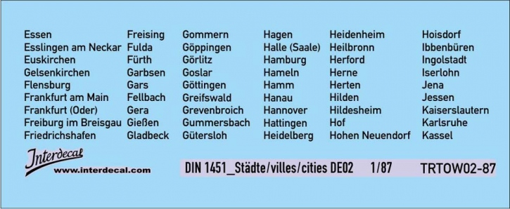 Verkehrsschilder Stadt 02 DE_1/87  (90x37 mm)