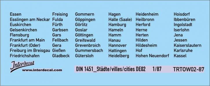 Traffic signs cities 02 DE_1/87  (90x37 mm)