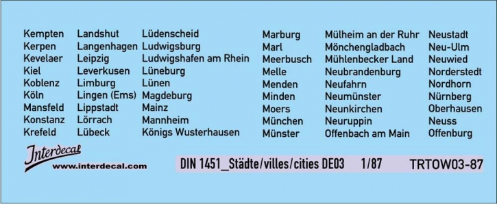Traffic signs cities 03 DE_1/87  (90x37 mm)