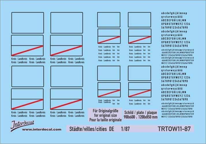Traffic signs cities 11 DE_1/87 (90x63 mm)