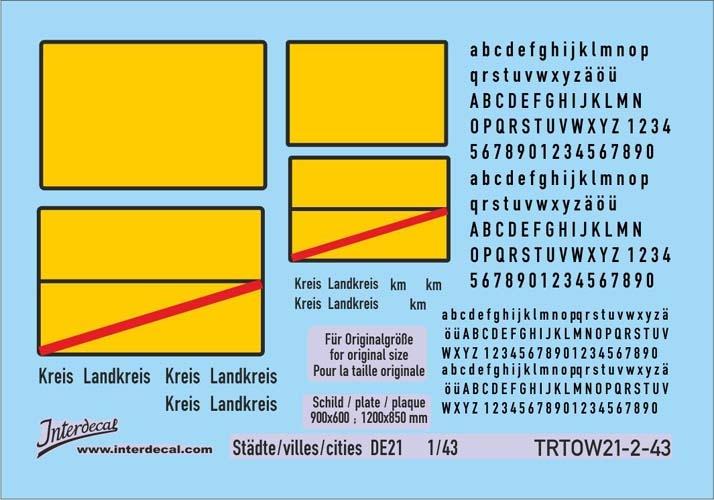Traffic signs cities 21-2 DE _1/43  (90x63 mm)