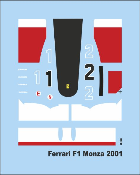 Add M  F1 Monza 2001  1/43 (50x40 mm) JA1643