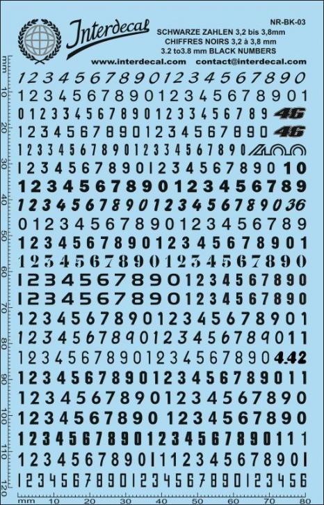 Schwarze Zahlen 3 3,2-3,8 mm (140x90 mm)
