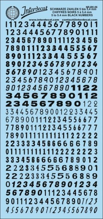 Schwarze Zahlen  06   5 - 5,4 mm (80x180 mm)