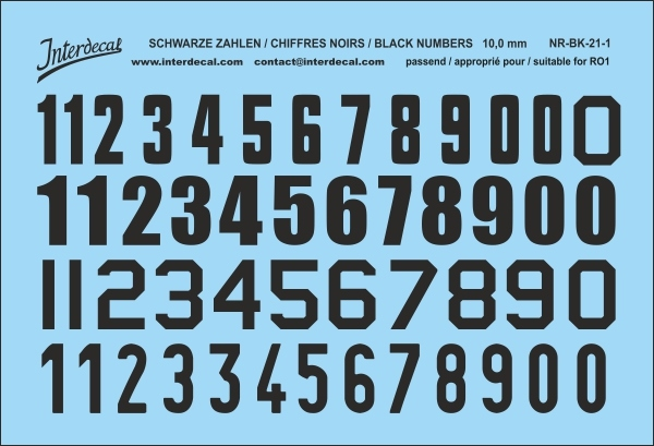 Black numbers 01 for RO1 10 mm  (64x94 mm) NR-BK-21-1