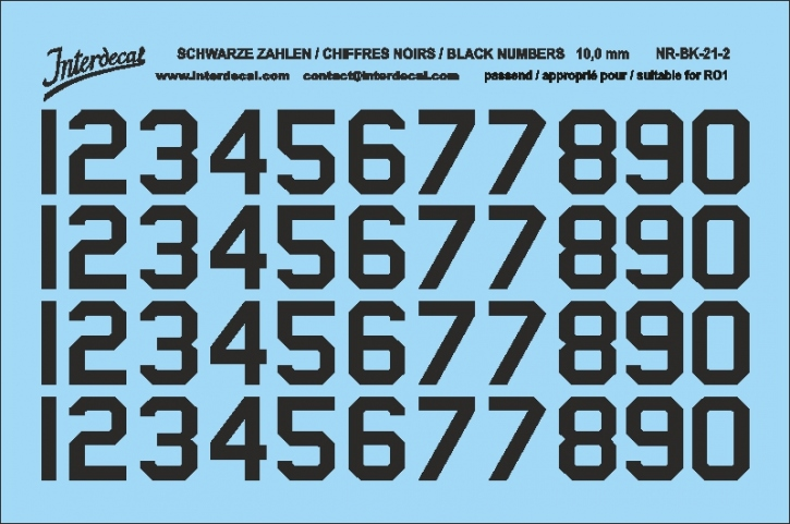 Black numbers 02 for RO1 10 mm  (95x63 mm) NR-BK-21-2