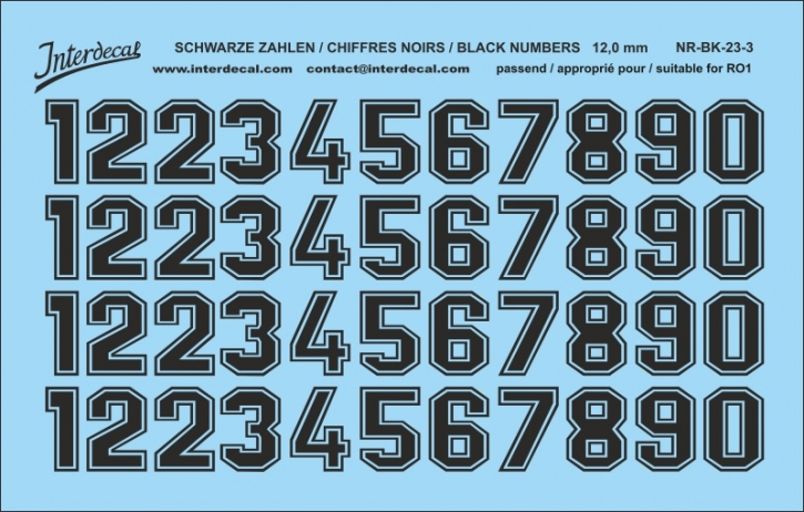 Black numbers 03 for RO1 12 mm  (113x72mm) NR-BK-23-3