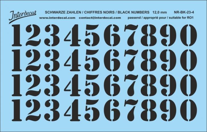 Schwarze Zahlen 04 für RO1 12 mm  (113 x 72 mm) NR-BK-23-4