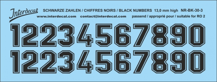 Black numbers 03 for RO2 13 mm high (122x46 mm) NR-BK-30-3