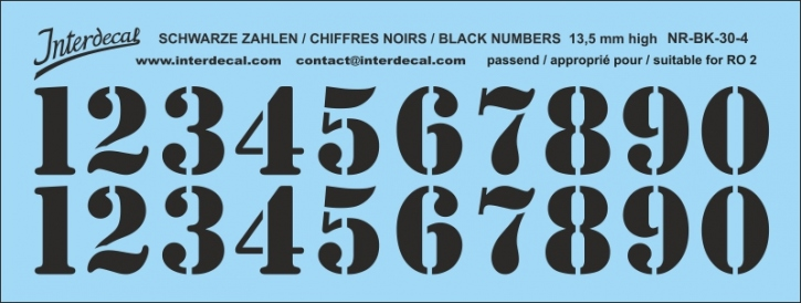 Black numbers 04 for RO2 13,5 mm high (122x46 mm) NR-BK-30-4