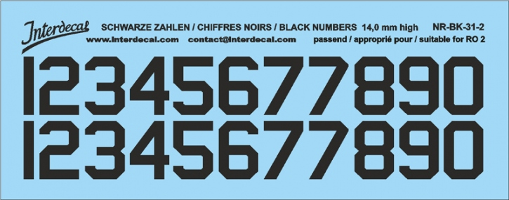 Black numbers 02 for RO2 14 mm high  (122x46 mm) NR-BK-31-2