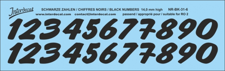 ZAHLEN / NUMBERS / CHIFFRES 06 for R02 schwarz / black / noir 14 mm high (148 x 47 mm)