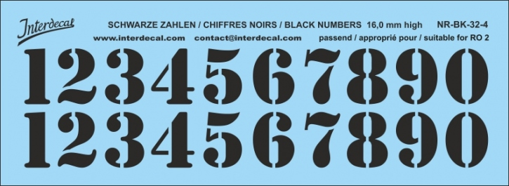 Black numbers 04 for RO2 16 mm high (145x53 mm) NR-BK-32-4