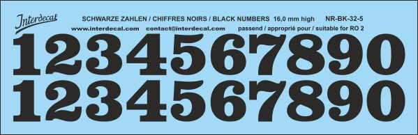 Black numbers 05 for RO2 16 mm high (161x52 mm) NR-BK-32-5