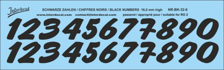 ZAHLEN / NUMBERS / CHIFFRES 06 for R02 schwarz / black / noir 16 mm high (167x52 mm)