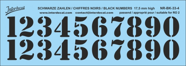 Black numbers 04 for RO2 17,5 mm high (158x56 mm) NR-BK-33-4