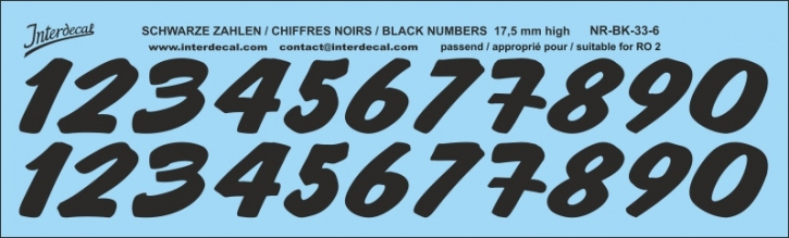 ZAHLEN / NUMBERS / CHIFFRES 06 for R02 schwarz / black / noir 17,5 mm high (182x55 mm)