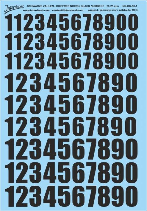Schwarze Zahlen für RO3 20-25mm (175x250 mm) NR-BK-50-1
