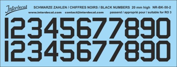 Schwarze Zahlen 02 für RO3 20mm (169x64 mm) NR-BK-50-2