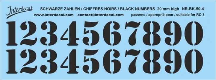 Schwarze Zahlen 04 für RO3 20mm (173x64 mm) NR-BK-50-4