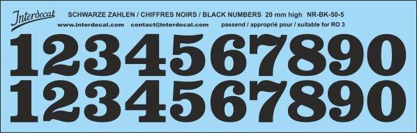 Schwarze Zahlen 05 für RO3 20mm (198x63 mm) NR-BK-50-5