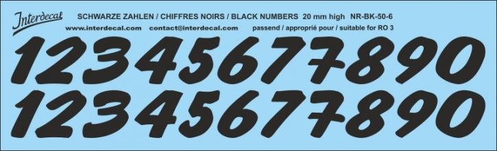 Schwarze Zahlen 06 für RO3 20mm (205x63 mm)
