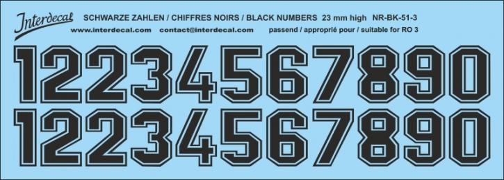 Schwarze Zahlen 03 für RO3 23mm (198x71 mm) NR-BK-51-3