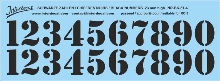 Schwarze Zahlen 04 für RO3 23mm (198x71 mm) NR-BK-51-4