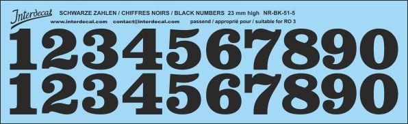 Schwarze Zahlen 05 für RO3 23mm (227x69 mm) NR-BK-51-5