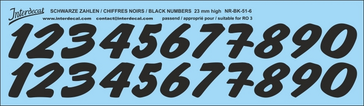 ZAHLEN / NUMBERS / CHIFFRES 06 for R03 schwarz/black/noir 23mm (237x69 mm)