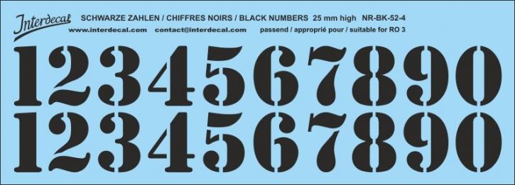 Schwarze Zahlen 04 für RO3 25mm (214x75 mm) NR-BK-52-4