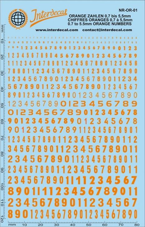 Orangene Zahlen 1 0,7-5,5 mm (140x90 mm)