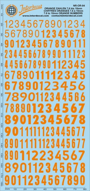 Orangene Zahlen 4 7,6-10,0 mm (180x80 mm)