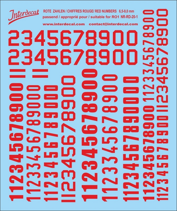 ZAHLEN / NUMBERS / CHIFFRES 01 for R01 rot / red / rouge 6,5-9 mm (120x100 mm)
