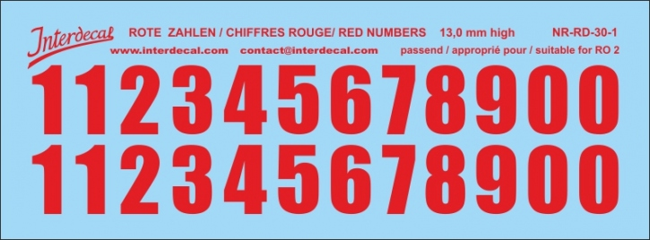 ZAHLEN / NUMBERS / CHIFFRES 01 for R02 rot / red / rouge 13 mm (122x45 mm)
