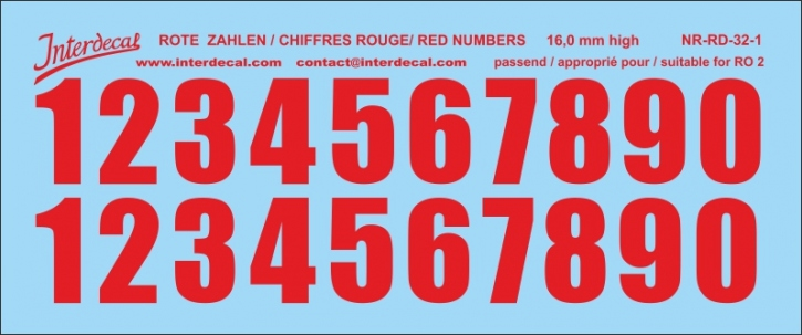 ZAHLEN / NUMBERS / CHIFFRES 01 for R02 rot / red / rouge 16 mm (122x51 mm)