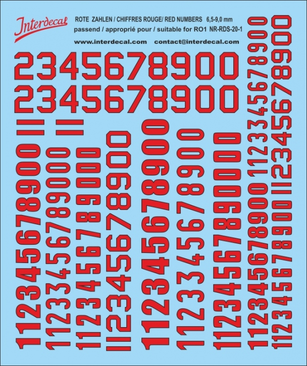 (S) ZAHLEN / NUMBERS / CHIFFRES 01 for R01 rot-schwarz / red-black / rouge-noir 6,5-9 mm  (120x100 mm)