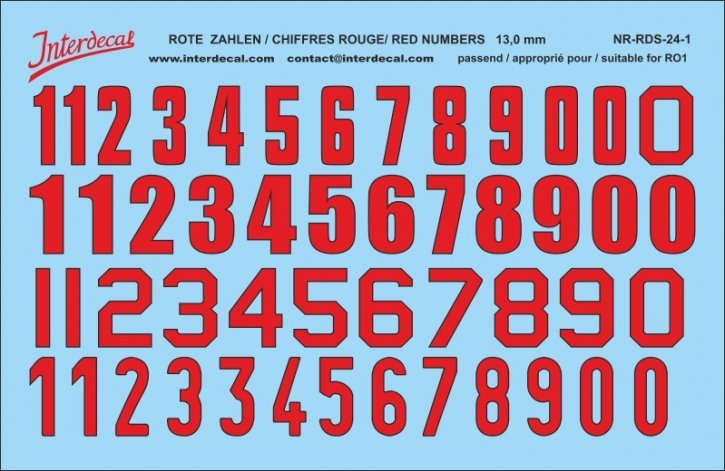 ZAHLEN / NUMBERS / CHIFFRES 01 for for R01 rot-schwarz / red-black / rouge-noir 13 mm  (120 x 78 mm)