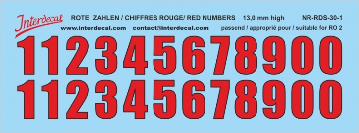 ZAHLEN / NUMBERS / CHIFFRES 01 for R02 rot-schwarz / red-black / rouge-noir 13 mm  (122x45 mm)