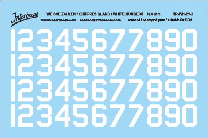 White numbers 02 for RO4 10 mm  (94x64 mm) NR-WH-21-2