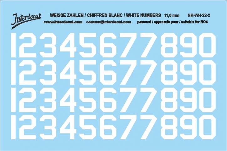 White numbers 02 for RO4 11 mm  (100 x 69 mm) NR-WH-22-2