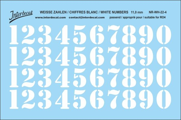 White numbers 04 for RO4 11 mm  (104 x 69 mm) NR-WH-22-4