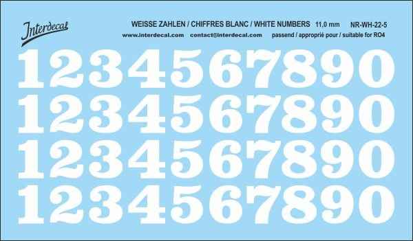 White numbers 05 for RO4 11 mm  (118 x 69 mm) NR-WH-22-5