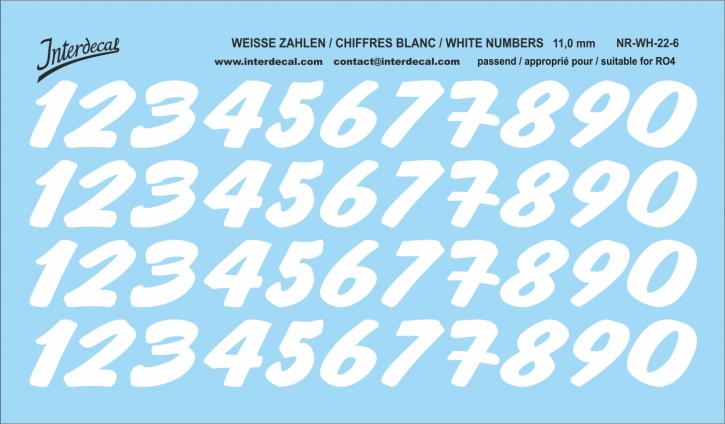 White numbers 06 for RO4 11 mm  (118 x 69 mm) NR-WH-22-6