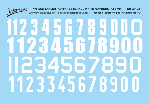 White numbers 01 for RO4 12 mm  (110 x 78 mm) NR-WH-23-1