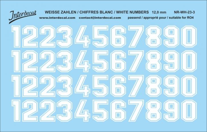 Weiße Zahlen 03 für RO4 12 mm   (104 x 69 mm) NR-WH-23-3