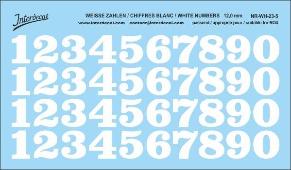 Weiße Zahlen 05 für RO4 12 mm (123 x 72 mm) NR-WH-23-5