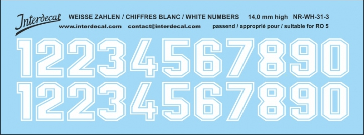 White numbers 03 for RO5 14 mm high (122x48mm) NR-WH-31-3