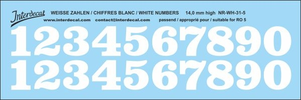 White numbers 05 for RO5 14 mm high  (142x47 mm) NR-WH-31-5